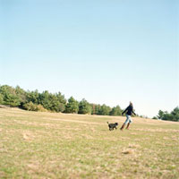 Woman with her dog in the meadow