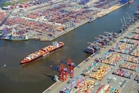 Container ships in harbour Hamburg