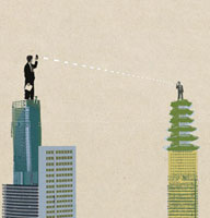 Business people communicating from highrise rooftop 20039000401| 写真素材・ストックフォト・画像・イラスト素材|アマナイメージズ