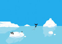 Penguins standing on iceberg,whale diving in distance