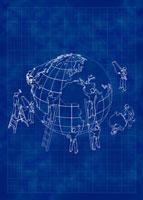 People working on globe
