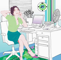 Woman talking on cell phone in home office 20039000638| 写真素材・ストックフォト・画像・イラスト素材|アマナイメージズ
