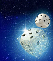 Dice and mathematical equations in space