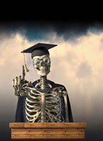 Skeleton in graduation cap and gown