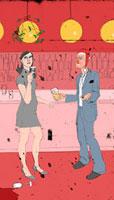 Man flirting with woman at Christmas party 20039000719| 写真素材・ストックフォト・画像・イラスト素材|アマナイメージズ