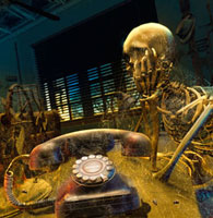 Skeleton waiting for dusty phone to ring