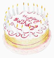 Birthday cake with candles 20039001447| 写真素材・ストックフォト・画像・イラスト素材|アマナイメージズ