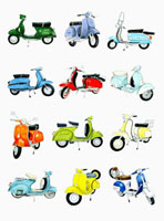 Rows of various scooters