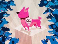 "Dogs surrounding ""Best in Show"" winner on pedestal"