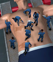 Small maintenance team working on man's abdomen