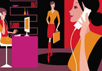 Busy businesswomen working in office 20039002249| 写真素材・ストックフォト・画像・イラスト素材|アマナイメージズ