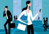 Busy people with cell phones 20039002261| 写真素材・ストックフォト・画像・イラスト素材|アマナイメージズ