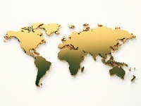 Gold world map on white background