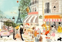 People shopping and sitting at sidewalk cafe in Paris in sum