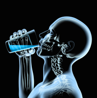 X-ray of man drinking from glass