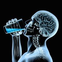 X-ray of man and brain drinking from glass