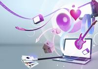 Multimedia entertainment emerging from laptop screen  20039003701| 写真素材・ストックフォト・画像・イラスト素材|アマナイメージズ