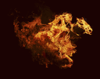 Flames in shape of racehorse and jockey
