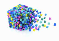 Small multicolored blocks assembling in large cube shape on