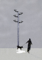 CCTV cameras above man and urinating dog