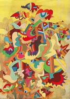 Multicolored psychedelic abstract of birds  20039004012| 写真素材・ストックフォト・画像・イラスト素材|アマナイメージズ