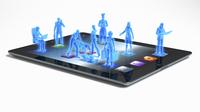 Blue business people standing on digital tablet apps 20039004153| 写真素材・ストックフォト・画像・イラスト素材|アマナイメージズ