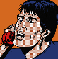 Close up of exasperated man on telephone