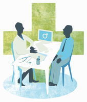 Doctor and male patient meeting in doctor's office
