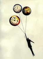 Man holding ascending clock balloons