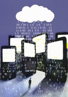 Binary code raining over cell phones and man 20039004429| 写真素材・ストックフォト・画像・イラスト素材|アマナイメージズ