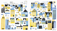 Blue and yellow buildings in cityscape