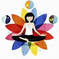 Smiling woman sitting in lotus position surrounded by harmon