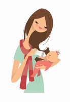 Mother feeding baby girl with bottle 20039004649| 写真素材・ストックフォト・画像・イラスト素材|アマナイメージズ