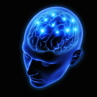 Sparks from human brain in blue transparent head