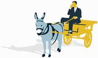 Businessman talking on cell phone and driving donkey cart 20039004805| 写真素材・ストックフォト・画像・イラスト素材|アマナイメージズ
