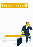 "Businessman talking on cell phone below ""Departures"" sign 20039004831| 写真素材・ストックフォト・画像・イラスト素材|アマナイメージズ"