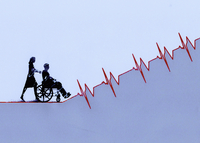Woman pushing man in wheelchair up ascending pulse trace gra