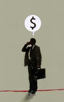 Dollar sign in speech bubble above businessman talking on ce 20039005058| 写真素材・ストックフォト・画像・イラスト素材|アマナイメージズ