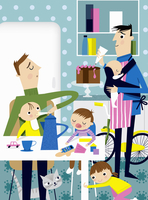 Househusbands busy in kitchen with babies and young children 20039005097| 写真素材・ストックフォト・画像・イラスト素材|アマナイメージズ