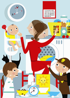 Mother busy multitasking with children in kitchen at breakfa 20039005103| 写真素材・ストックフォト・画像・イラスト素材|アマナイメージズ