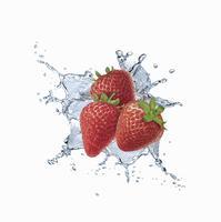Water splashing around strawberries 20039005162| 写真素材・ストックフォト・画像・イラスト素材|アマナイメージズ