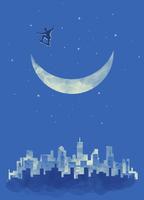 Boy skateboarding in sky on crescent moon above city