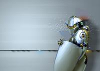 Shiny futuristic robot guard with shield