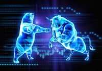 Binary code over glowing fighting bull and bear stock market