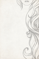 Cropped close up line drawing of woman�fs long curly hair