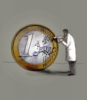 Doctor examining one euro coin with stethoscope