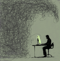 Businessman concentrating on glowing computer attached to co 20039006147| 写真素材・ストックフォト・画像・イラスト素材|アマナイメージズ