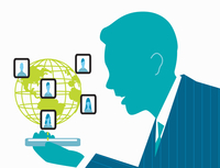Businessman networking with co-workers on cell phone 20039006204| 写真素材・ストックフォト・画像・イラスト素材|アマナイメージズ