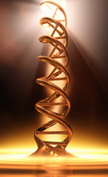 Golden dna double helix in spotlight