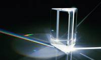 Light beams refracted through prism into color spectrum